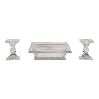 Signed Lalique Art Deco Style Three-Piece Square Centerpiece Set For Sale