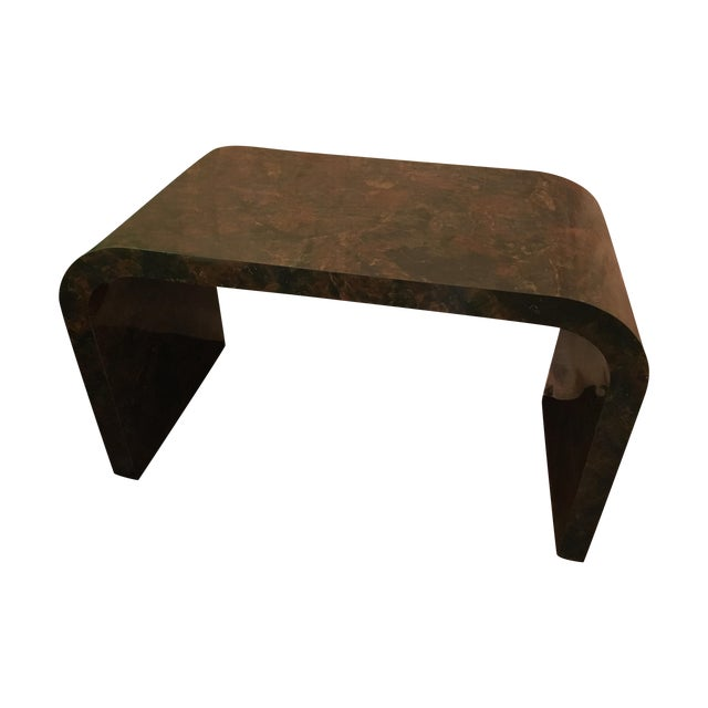 Mid-Century Faux Marble Console Table - Image 1 of 9