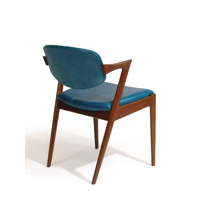 Blue Six Kai Kristiansen Teak Danish Dining Chairs in Turquoise Leather, 20 Available For Sale - Image 8 of 11