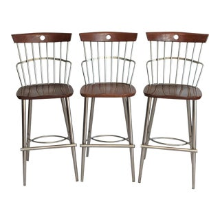 Mid Century Modern Stainless Steel and Cherry Wood Bar Stools - Set of 3