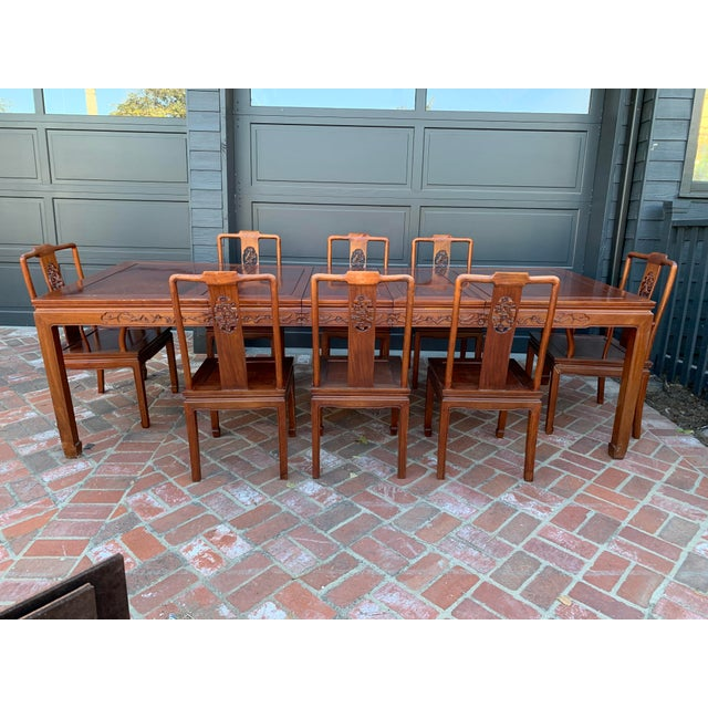Vintage Solid Rosewood Dining Set - 9 Pieces For Sale - Image 13 of 13