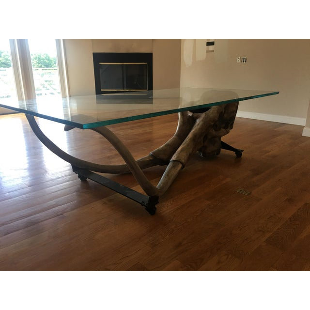 Brown Large Woolly Mammoth Head 8ft Glass Top Table For Sale - Image 8 of 13