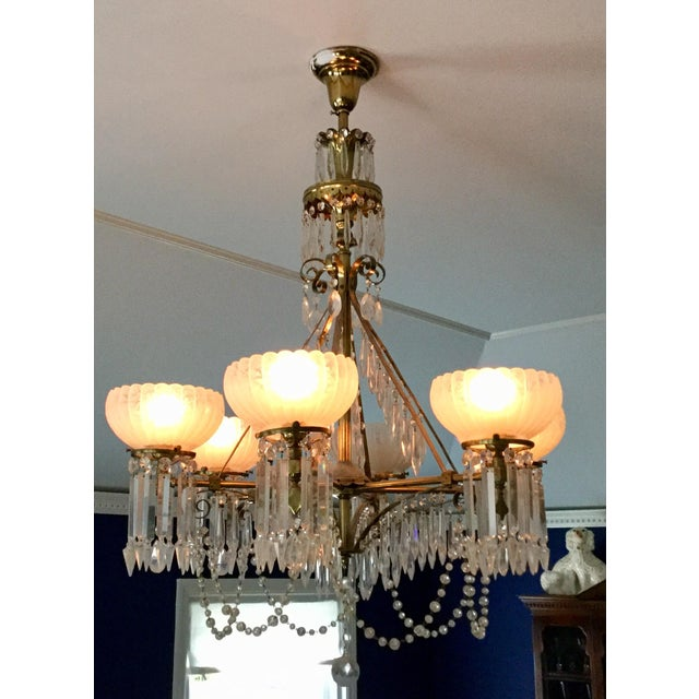 1900s Antique Brass & Crystal Chandelier For Sale - Image 5 of 10
