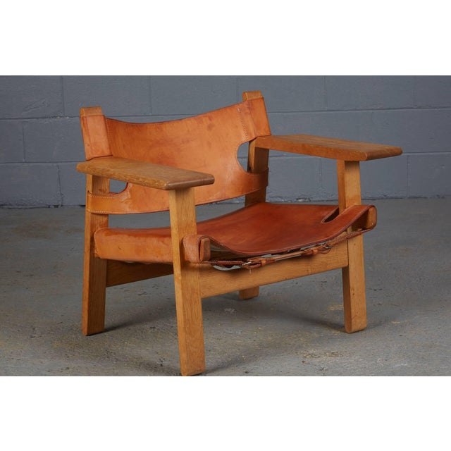 """Wonderful """"Spanish Chair"""" by Børge Mogensen for Fredericia Furniture designed in 1958, made in Denmark, in solid oak and..."""