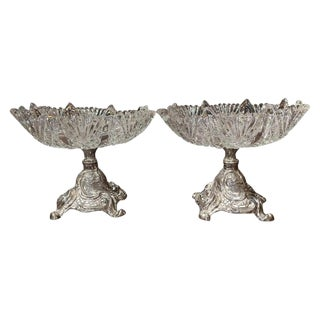 19th Century French Louis XV Pewter and Cut Crystal Compotes-a Pair For Sale