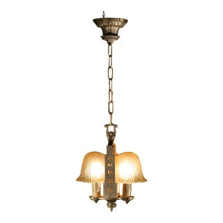 Small 1930s Art Deco Slip Shade Chandelier For Sale