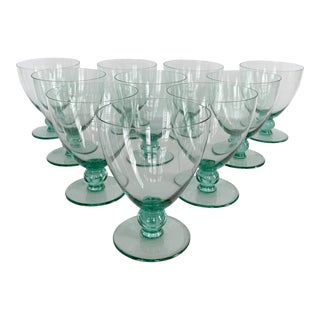 Mid-Century Hand-Blown Sea Green Cocktail Glasses - Set of 10 For Sale