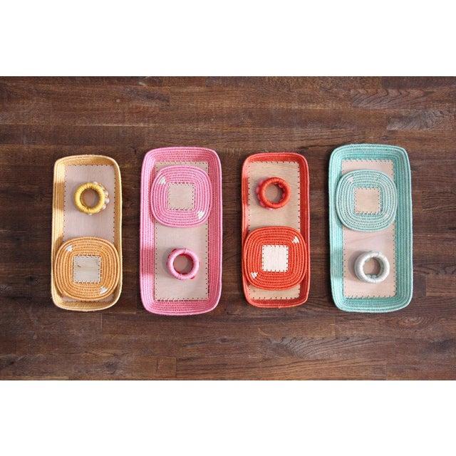 Berry Sisal Napkin Rings Tangerine/peony - Set of 4 For Sale In New York - Image 6 of 7