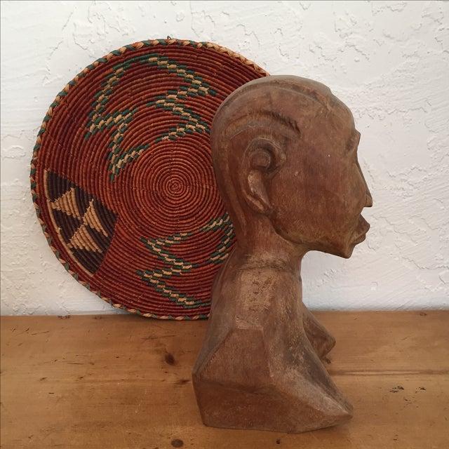Vintage Hand Carved Female Bust Wood Sculpture - Image 9 of 9