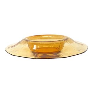 Vintage 1930s Cambridge Amber Glass Console Bowl For Sale