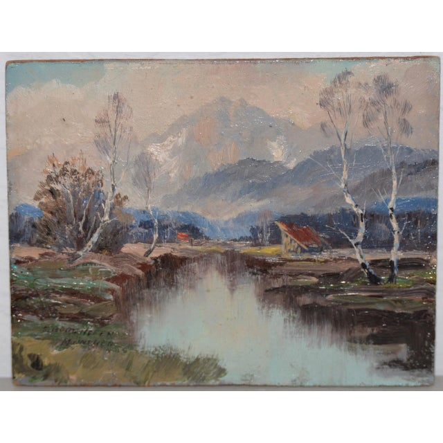 """Early 20th Century Wonderful Little """"Munchen"""" Mountain Landscape by Sepp Burghofer Early 20th C. For Sale - Image 5 of 5"""