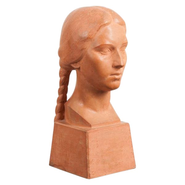 French Early 20th Century Terra Cotta Bust by Raymond Couvègnes For Sale