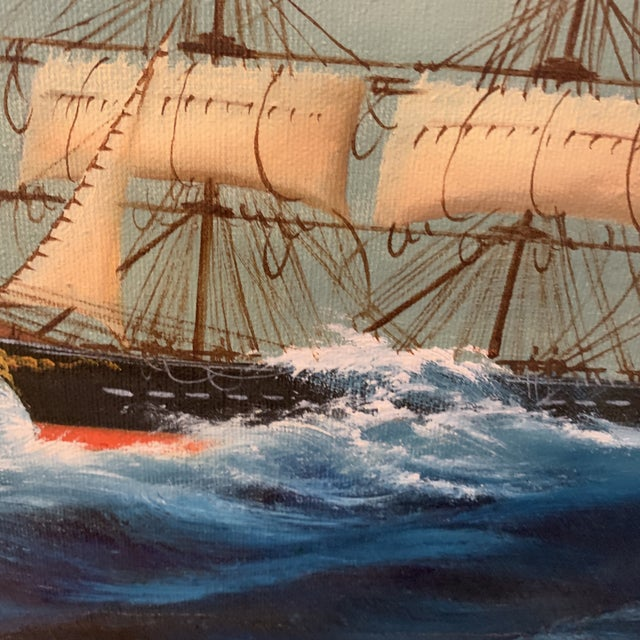 Midcentury Oil Seascape Painting of a Sailing Ship For Sale - Image 4 of 7