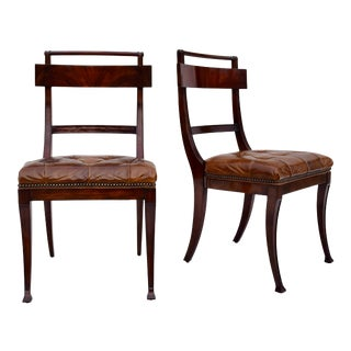 Henredon Hanover Tufted Leather Dining Chairs, Pair For Sale