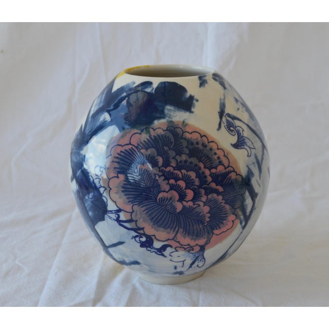 Asian Contemporary Ceramic Chrysanthemum Moon Vessel For Sale - Image 3 of 6