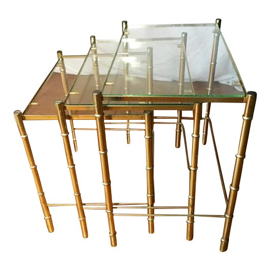 Hollywood Regency Faux Bamboo Brass & Glass Nesting Tables - S/3 - Image 1 of 6