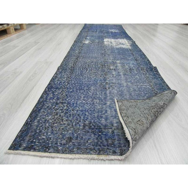 Vintage Turkish Blue Overdyed Runner Rug - 2′11″ × 12′ For Sale In Los Angeles - Image 6 of 6