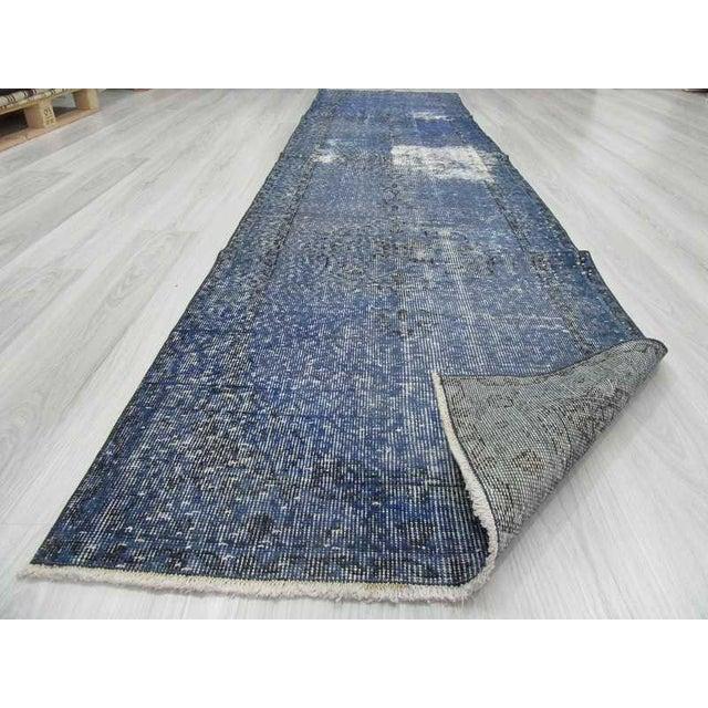 Vintage Turkish Blue Overdyed Runner Rug - 2′11″ × 12′ - Image 6 of 6