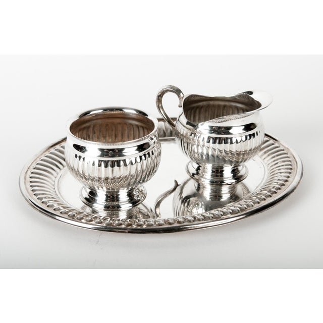 Silverplate Creamer and Sugar Set of 3 For Sale - Image 4 of 4