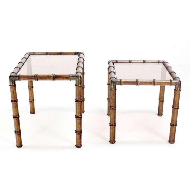 Early 20th Century Mid Century Modern Faux Bamboo Nesting Stacking End Tables For Sale - Image 5 of 9