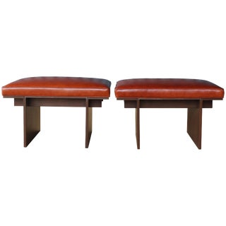 Pair of Walnut Benches With Upholstered Leather Seats, 1970s For Sale