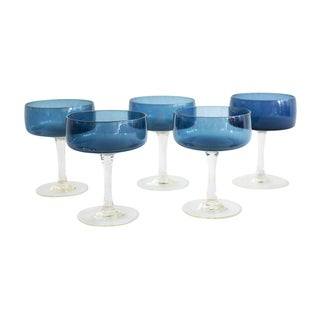 Blue Cocktail Glasses - Set of 5