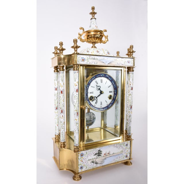 Gold Mid-20th Century Brass Frame Mantel Clock For Sale - Image 8 of 12