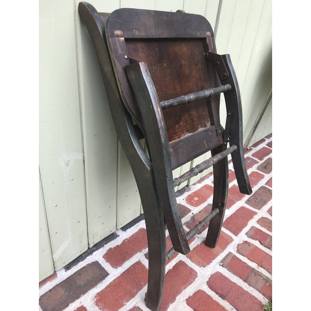 Animal Skin Antique Vintage Folding Theater Chair For Sale - Image 7 of 7