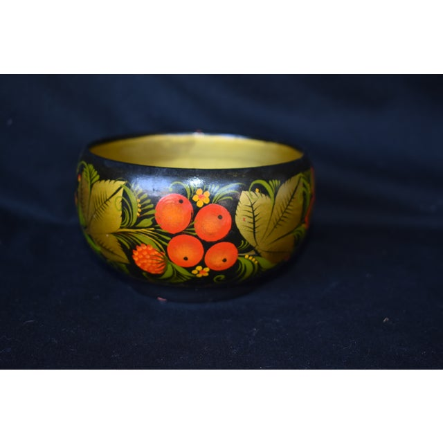 Hand Painted Russian Wooden Bowl For Sale - Image 5 of 5