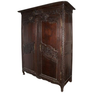 Louis XV Style Oak Armoire With Wood Shelves, 19th Century For Sale
