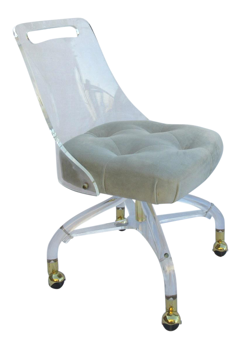 lucite office chair. Lucite Rolling Desk Chair With Tufted Velvet Seat Office