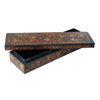 An Intricately Decorated Kashmiri Rectangular Lacquered Box For Sale