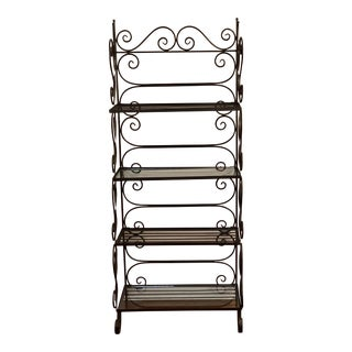 French Country Black Wrought Iron Bakers Rack For Sale