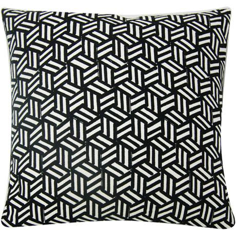 Miles Redd Tumbling Blocks in black and white. A playful geometric in the spirit of David Hicks, this stylized pattern was...