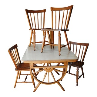 1950's Southwestern Baumritter Ethan Allan Wagon Wheel Dining Set - 5 Pieces For Sale