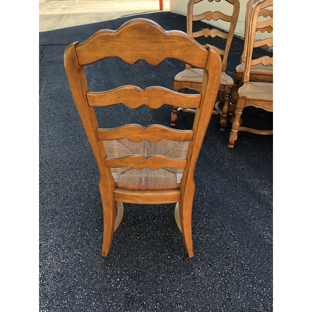 French Country 1970s Vintage Ethan Allen French Country Ladderback Chairs- Set of 6 For Sale - Image 3 of 10