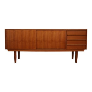 Danish Teak Sliding Door Credenza by Falster For Sale