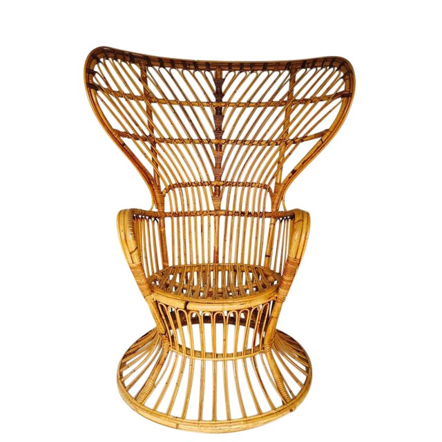 Franco Albini Style Vintage Bamboo Peacock Chair - Image 1 of 6