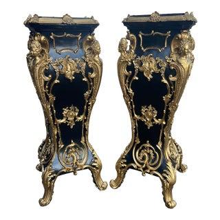 Italian Baroque Pedestals/Collumns in Black - a Pair For Sale