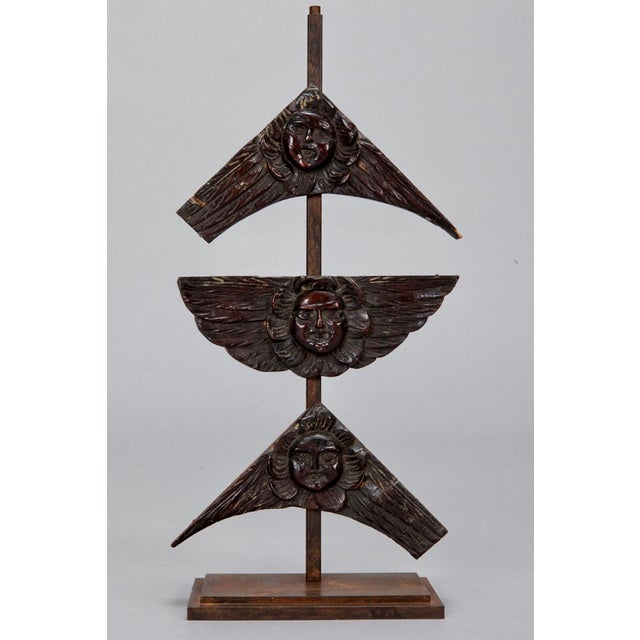 19th Century Carved Wood Angel Faces on Iron Stand- S/3 For Sale - Image 4 of 4