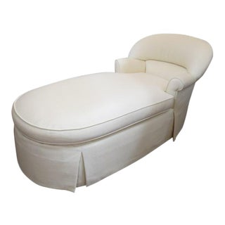 1980s Vintage Cream Fabric Custom Chaise Lounge For Sale
