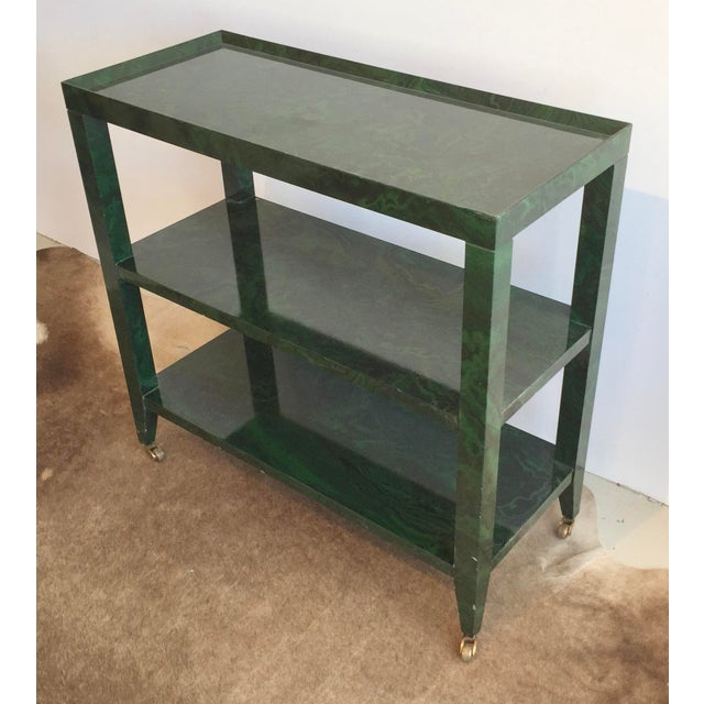 Gorgeous little faux malachite finished cart on the best solid brass casters. A truly beautiful paint finish on this...