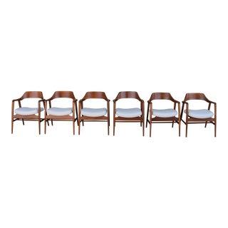 Gunlocke Set of 6 Walnut Dining Chairs For Sale
