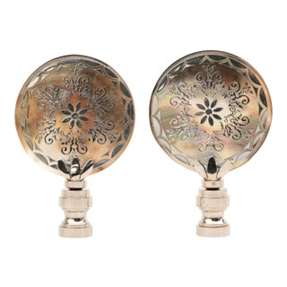 Mother-Of-Pearl Ocean Emblem Lamp Finials - a Pair For Sale