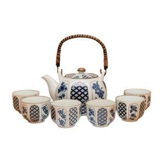 7 Piece Blue & White Ceramic Japanese Tea Service For Sale