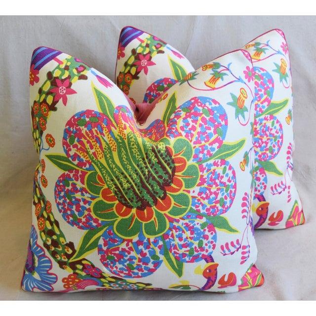 "Designer Josef Frank Floral Linen & Velvet Feather/Down Pillows 21"" Square - Pair For Sale - Image 13 of 13"