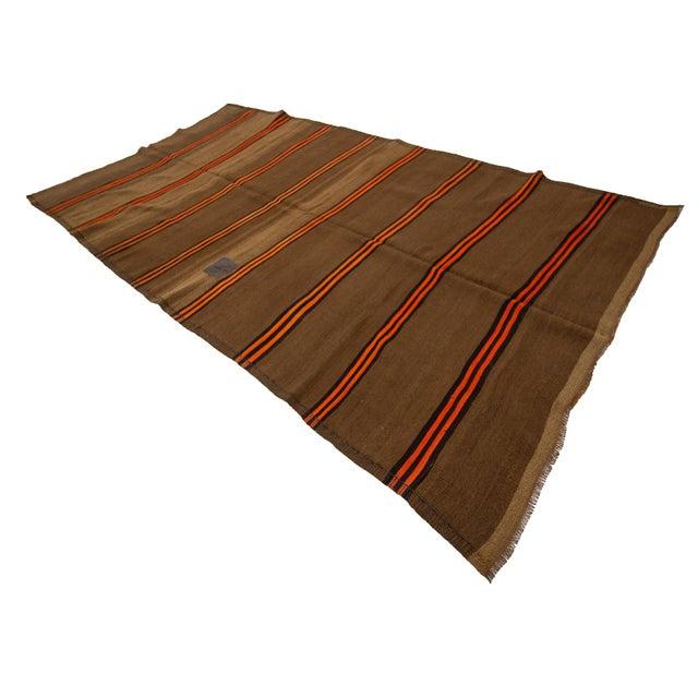 1960s Vintage Orange & Brown Striped Wool Kilim Rug- 5′10″ × 9′8″ For Sale - Image 4 of 7