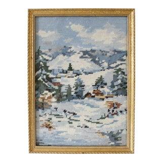 Vintage Mountain Landscape Needlepoint Wall Art Wall Hanging Winter Snow Mountainside Mid Century