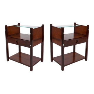 Sergio Rodrigues Jacaranda and Glass 'Yara' Side Tables - a Pair For Sale