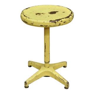 Vintage Ajustrite American Industrial Steel Metal Yellow Paint Adjustable Stool For Sale